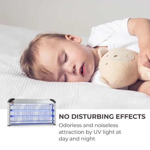 Elektrický lapač hmyzu můžete bez starostí použit i v ložnici malého dítěte